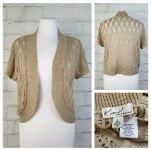 Kim Rogers L Khaki Crocheted Short Sleeve Shrug
